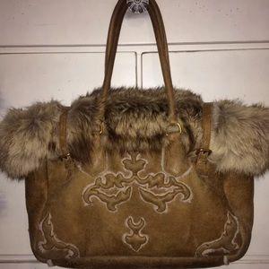 Prada Fox Fur Hobo Luxurious Bag